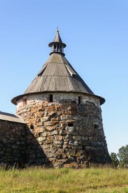 Tower of boulders of the Solovetsky monastery on Solovki (Solovetsky archipelago), sunny summer day